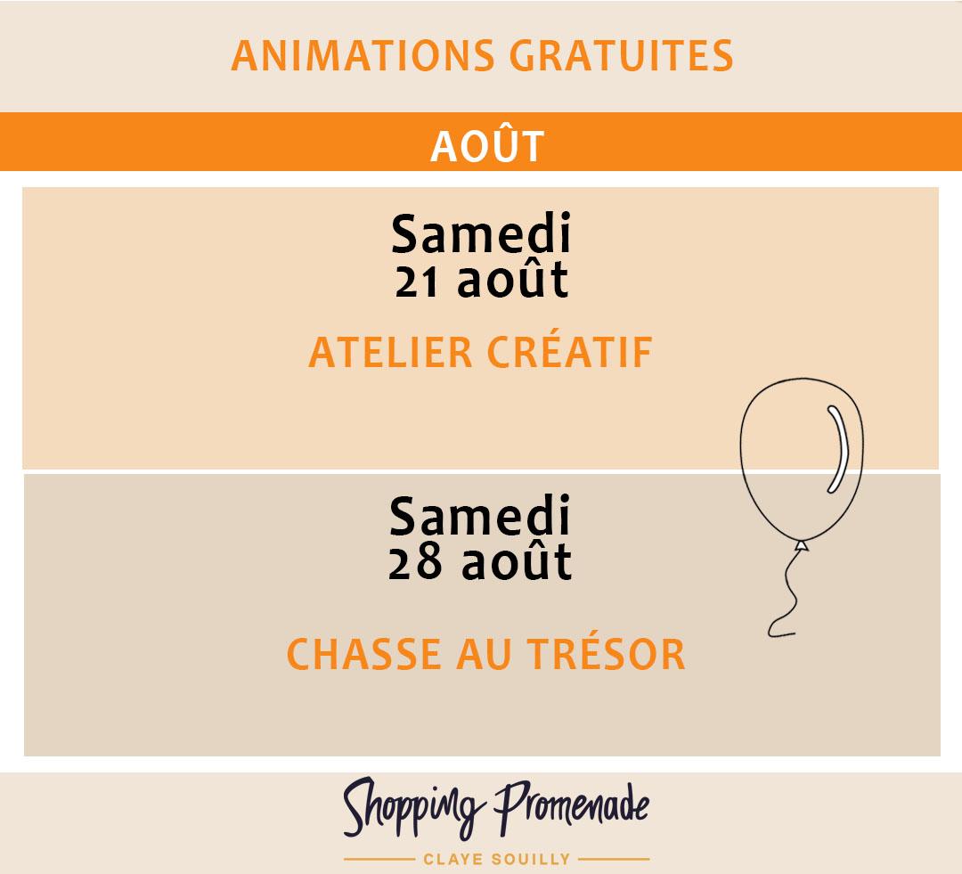 Animations gratuites du mois d'août