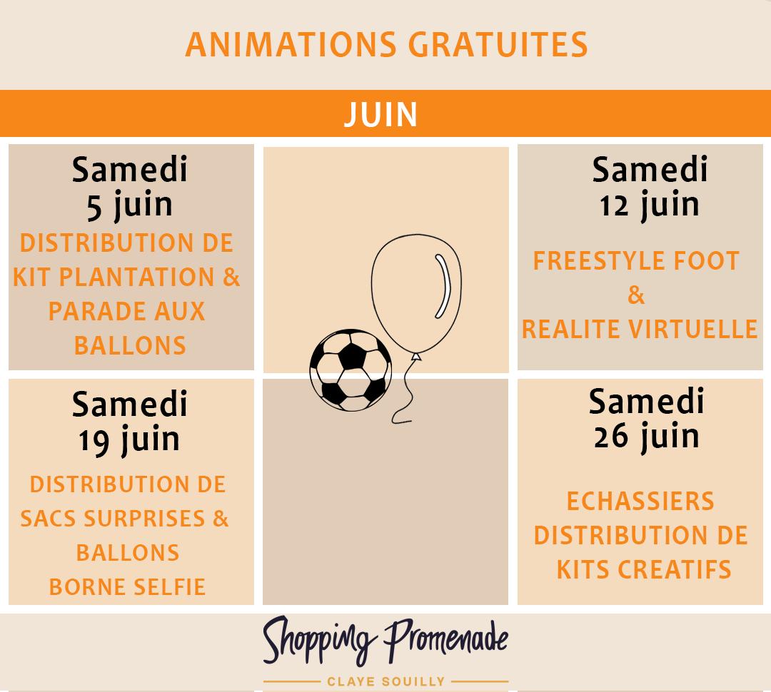 Animations gratuites du mois de juin