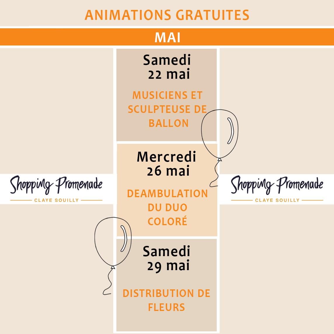 Animations gratuites du mois de mai
